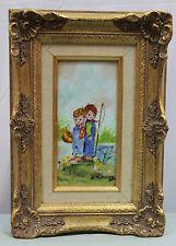 Vintage French Enamel on Copper Ornate Frame Painting K Munsing Children Fishing