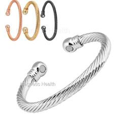 MENS LADIES MAGNETIC HEALING BANGLE COPPER SILVER BRACELET ARTHRITIS PAIN RELIEF