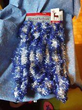 Nos Velvetouch Royal Velvet Christmas Garland 15 ft x 2 1/2 Inch Blue & Silver