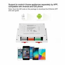 Sonoff 4CH-4 Channel Din Rail Mounting WiFI Wireless Switch For Smart Home