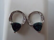 Fashion Circle with Lab Created Alexandrite with Diamonds Earrings on 10K WG