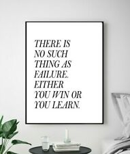 No Such Thing As Failure Life Quote Living Home Wall Art Poster Print Decor Sign