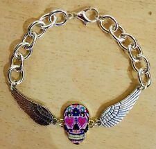 Angel Wings Sugar Skull Bracelet, Vintage, Rockabilly Steampunk Day of the Dead