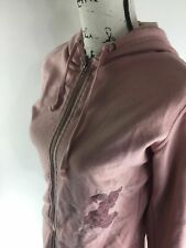MAURICE'S Zip Up Light Pink Floral Embroidery Design Hoodie Women's Size Medium