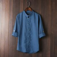 Spring Summer Men Chinese Style Linen Cotton Shirt Mandarin Collar Traditional