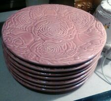 "7 Bordallo Pinheiro Pink Plates Roses 9"" inch Portugal"