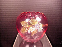Antique Cranberry Rose Bowl Vase Applied Glass Flowers Hand Blown 1800's