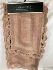 Laura Ashley Luxury Crochet 2 Piece Bath Rug Set in Blush 17 x 24 / 21 x 34