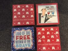 NWT Set of 4 - 20 Ct Paper Cocktail Napkins Republican Party America Political