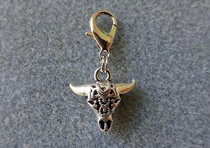 Bull Skull Clip on Charm, Symbol of Zeus, Hellenic God, Steer Skull, Cow Skull