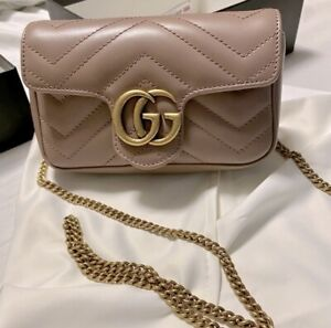 Gucci GG Marmont Matelassé Leather Super Mini Bag - Dusty Pink AUTHENTIC