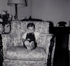 Vintage Photograph Adorable Little Boy Sitting in Retro Living Room Chair