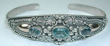 Bali Blue Topaz Cuff in Sterling Silver Elegant Statement Jewelry