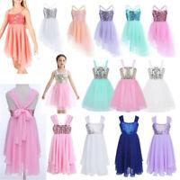 Girls Ballet Dance Dress Sequins Ballerina Kids Latin Leotard Tutu Skirt Costume