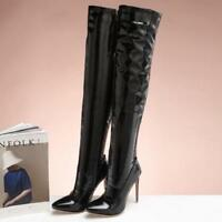 Full Size Womens Patent Leather Stilettos Over Knee High Boots High Heel Shoes