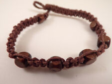 Men's Wood Beaded Macrame Hemp Loop Closure Bracelet #2 7 Inches