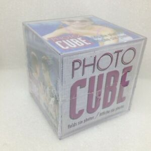 Clear Acrylic 6 Photo Cube Frame 3.5 inch Photograph Holder New