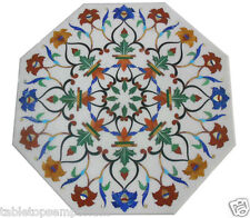2'x2' Octagon Coffee table White Marble inlay accent tables Home Decor Marquetry