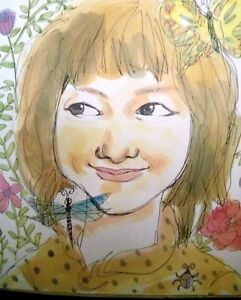 """Watercolor painting   COPY of Japanese girl TITLE """"Hatsukoi"""" (First Love)"""