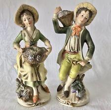 2 Vtg Homco Porcelain Art Pottery Man & Woman Harvesting Grapes Figurines #1258
