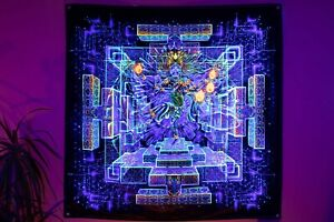 Trippy UV Mandala DMT Tapestry Wall Hanging Visionary Spiritual Mushroom Fractal