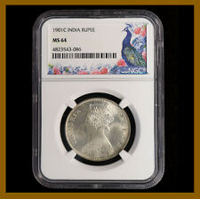 British India 1 Rupee, 1901 (C) Calcutta NGC MS 64 Queen Victoria
