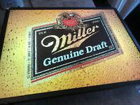 Original 1980's MGD Lighted Sign Bar Pub Miller Genuine Draft Beer