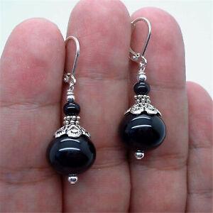 Lovely Smooth Black Onyx Silver Earrings Lever backs Handmade simple Popular