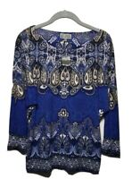 New JM CCOLLECTION Womens Medium Blue Paisley 3/4 Sleeve New Twist Tunic Top