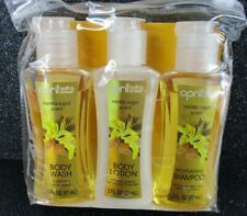 April Bath and Shower Vanilla Sugar Shower Gel Lotion Shampoo Travel Set 2 oz