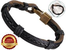 Genuine Leather Bracelet Mens Surfer Wristband Bronze Buckle Braided Rope Black