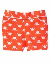 Gymboree NWT Girls Cute on the Coast Orange Crab Print Shorts Size 3T