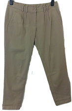 Womens NEW LOOK Beige Turn Up Leg Cotton Trousers -UK Size 12