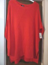 """BIRTHDAY GIFT! Lovely Red 2X 52"""" Bust Big Cozy Sweater 34""""L Back New $49 tag"""