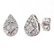 14k White Gold 0.35ctw Diamond Pear Shaped Cluster Stud Earrings