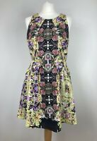 Topshop Fit & Flare Sleeveless Tea Dress UK 12 Retro Dark Floral Rockabilly