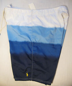 Polo Ralph Lauren Mens Board Shorts NWT 32 Blue & White Polyester