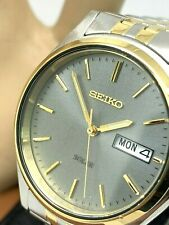 Seiko Men's Watch SNE042 Solar Gray Dial Day Date Two Tone S. Steel 37mm