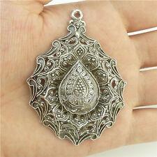 15431*2PCS Hollow Tear Drop Lotus Yoga Buddha Faith Pendant Alloy Tibetan Silver