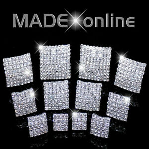 Square Stud Earrings, Diamante Stones, Sparkle Crystal Bling