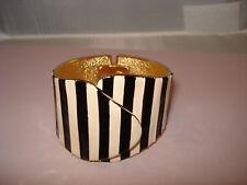 Vintage Zebra Black and Cream Enamel Stripe Gold Tone Clamper Bracelet