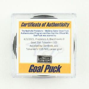 2020-21 Eeli Tolvanen Nashville Predators Game-Used NHL Goal-Scored Puck -Josi A
