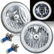"7"" SMD White LED Halo Angel Eye Headlamp Headlight H4 Halogen Light Bulb Pair"