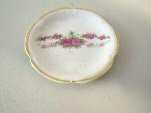 Vintage Butter Pat Dish Porcelain  Rose Floral Design Gold Trim