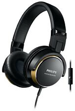 Philips Black & Gold Wired DJ Monitor Style On Ear Headphones with Microphone