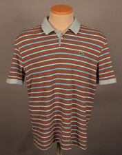 Men's Lacoste White Blue BROWN Striped Short Sleeve Polo Shirt - Size 5 MEDIUM