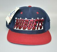 Denver Nuggets Logo Athletic Spell Out Vintage 90s Snapback Cap Hat - NWT