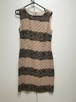 F716 WOMENS LAURA ASHLEY BEIGE BLACK DOTS & LACE DESIGN DRESS UK 10 US 6