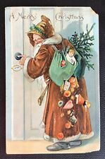 Vintage Christmas Postcard - Full Length Santa in Brown With Toys & Tree