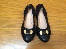 TARYN ROSE ABRIANA BLACK LEATHER SCRUNCH FLAT SHOES NEW SIZE 5.5